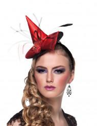 Mini cappello da strega rosso con cerchietto  - Halloween