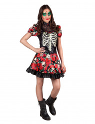 Costume scheletro Dia de los muertos bambina