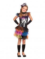 Costume scheletro colorato con tutù bambina Halloween