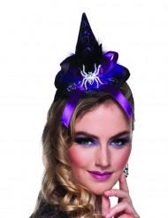 Mini cappello a punta con ragno e nastro viola - Halloween