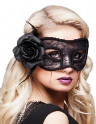 Maschera in pizzo nero con rosa di stoffa