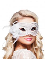 Maschera in pizzo bianco con rosa di stoffa