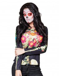 T-shirt maniche lunghe scheletro Dia de Los Muertos