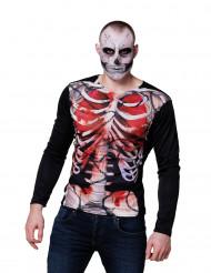 Maglia a maniche lunghe scheletro insanguinato uomo Halloween