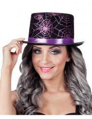 Cappello a cilindro con ragnatele viola - Halloween