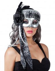 Maschera argentata tela di ragno donna Halloween