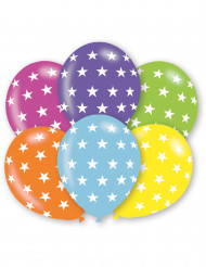 6 Palloncini multicolore con stelle