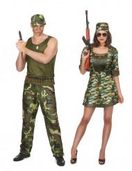Costume coppia mlilitare adulto