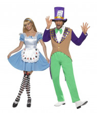 Costume coppia Cappellaio matto e Alice nel Paese delle meraviglie adulto