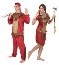 Costumi coppia indiani rosso adulto