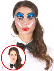 Maschera trasparente trucco blu donna