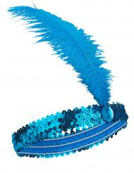 Fascia Charleston con sequins e piuma blu donna