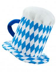 Cappello pinta di birra blu e bianco adulto
