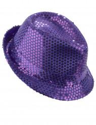 Cappello borsalino con lustrini viola adulto