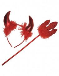 Kit Diavolessa rossa con piume adulti Halloween