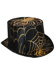 Cappello a cilindro con tela e ragno dorati