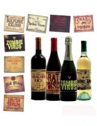 8 Stickers per bottiglie Halloween