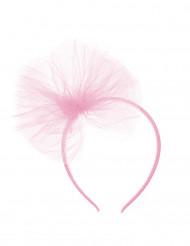 Cerchietto con fiocco di tulle rosa per bambina