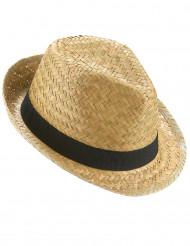 Cappello tipo borsalino paglia nature con fascia nera