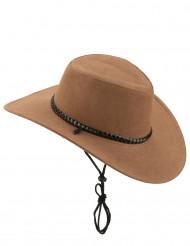 Cappello da cowboy scamosciato marrone per adulto