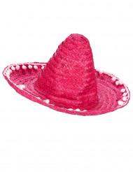 Sombrero rosa con pompons per adulto