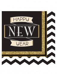 16 tovaglioli di carta Happy New Year nero e oro 33 x 33 cm