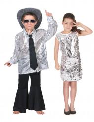Costume coppia disco color argento bambini