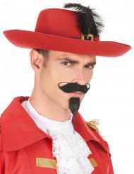 Cappello moschettiere rosso adulto