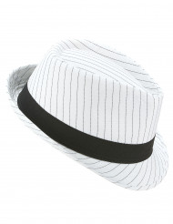 Cappello borsalino bianco con strisce nere adulto