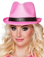 Cappello borsalino fucsia con fascia nera