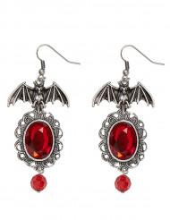 Orecchini gotici con pipistrello e pietra rossa - Halloween