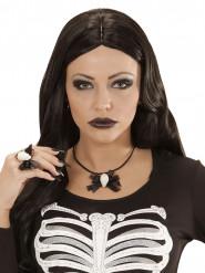 Collana con teschio e fiocco nero - Halloween