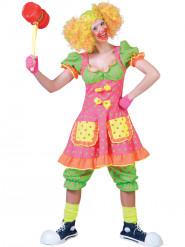Costume clown fluo a pois da donna