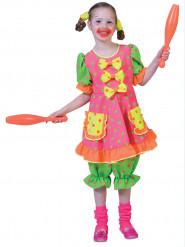Costume clown fluo a pois da bambina