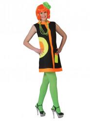 Costume Anni '60 nero e fluo per donna