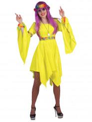 Costume hippie giallo fosforescente per donna