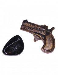 Mini pistola e copri occhio pirata adulto