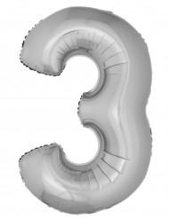 Palloncino in alluminio cifra 3 argentato 102 cm