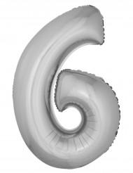 Palloncino in alluminio cifra 6 argentato 102 cm