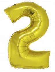 Palloncino in alluminio cifra 2 dorato 102 cm