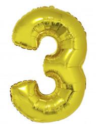 Palloncino di alluminio dorato numero 3