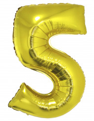 Palloncino di alluminio dorato numero 5