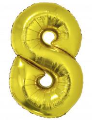 Palloncino di alluminio dorato numero 8