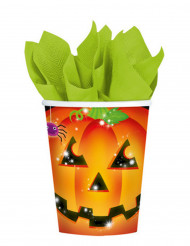 Confezione 8 bicchieri zucca di Halloween