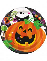 Confezione di 8 piatti con zucca e fantasmino di Halloween