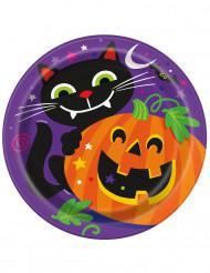 Confezione di 8 piatti di carta con zucca di Halloween