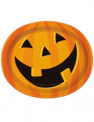 8 piatti zucca sorridente Halloween