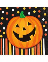 16 tovaglioli di carta zucca sorridente Halloween