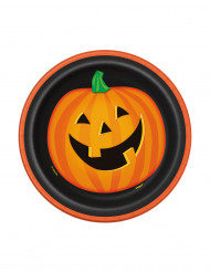 8 piatti di cartone zucca sorridente Halloween