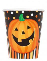 8 bicchieri di carta Zucca sorridente Halloween